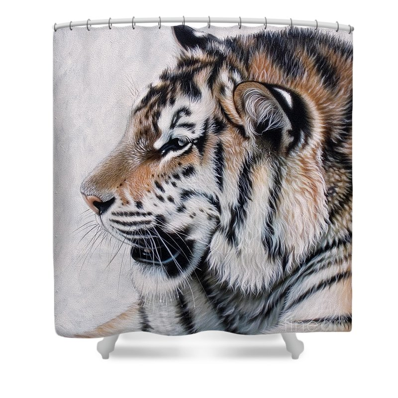Acrylic Shower Curtain featuring the painting Amur by Sandi Baker