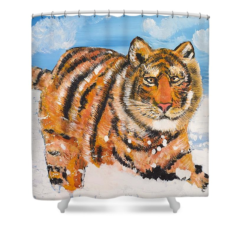 Cat Shower Curtain featuring the painting Amur Tiger by Valerie Ornstein