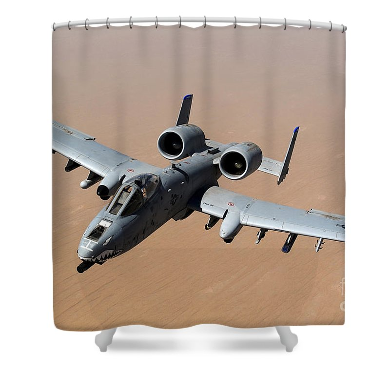 A-10 Shower Curtain featuring the photograph An A-10 Thunderbolt II Over The Skies by Stocktrek Images