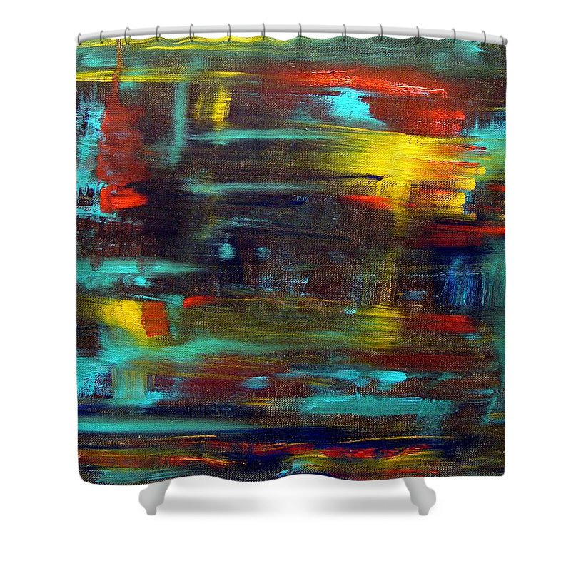 Red Blue Yellow Gold Brown Cad Orange Eyes Obama Oscar  Face Thought Emotions Shower Curtain featuring the painting An Abstract Thought by Jack Diamond