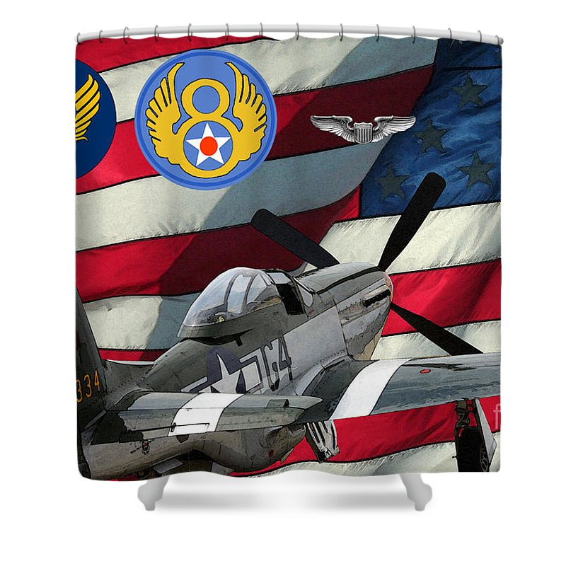 North American Shower Curtain featuring the digital art An American P-51d Pof by Tommy Anderson