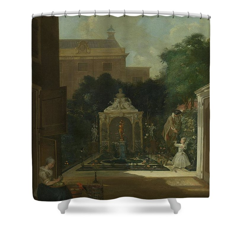 Amsterdam Shower Curtain featuring the painting An Amsterdam Canal House Garden, 1745 by Cornelis Troost