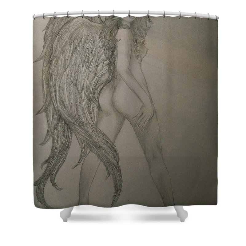 Angel Shower Curtain Featuring The Drawing An By Glory Fraulein Wolfe