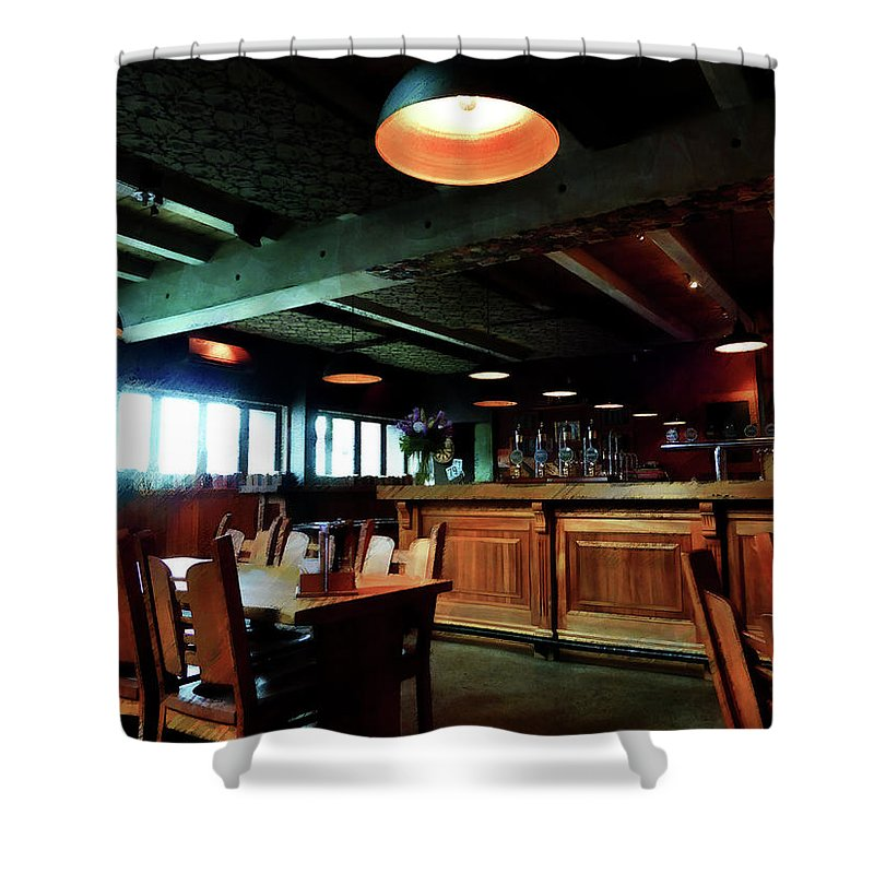 Bar Shower Curtain featuring the digital art An Early Lunch by Steve Taylor