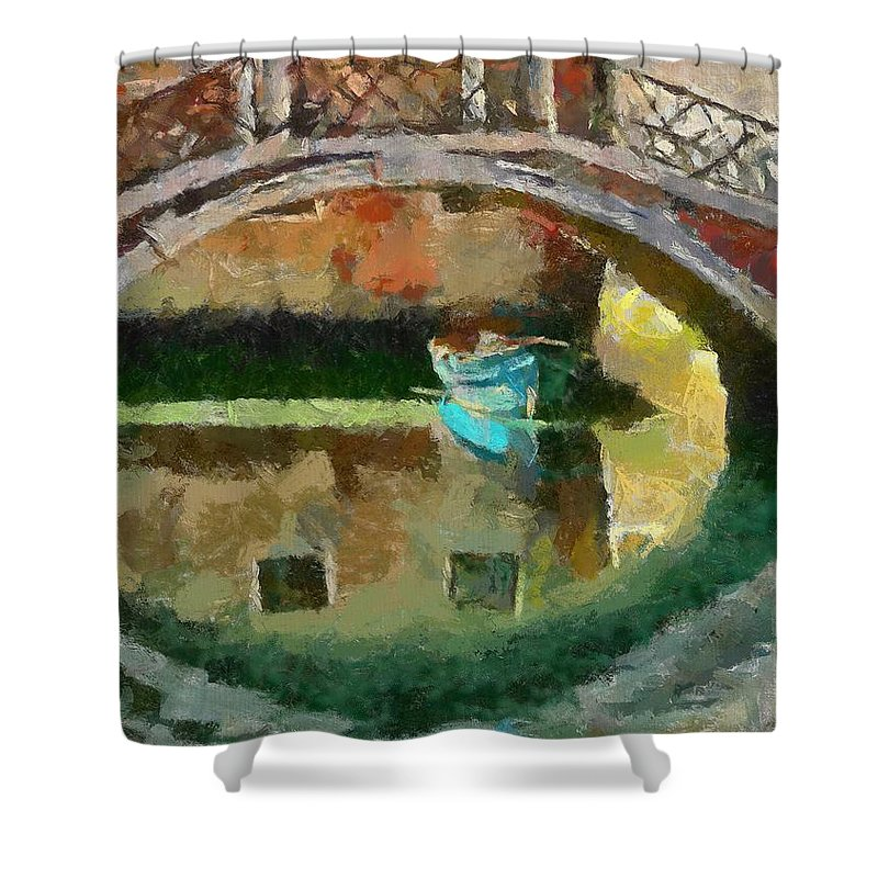 Cities Shower Curtain featuring the painting An Early Morning In Venice by Dragica Micki Fortuna