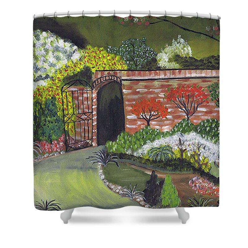 Garden Of Eden Shower Curtain featuring the painting An Evening At The Garden Of Eden by Samara Doumnande