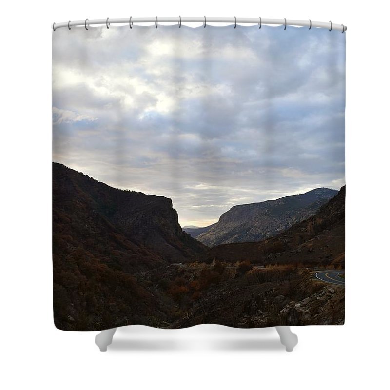 Altitude Shower Curtain featuring the photograph An Evening View Through A Valley In The Southwest Foothills Of The Sierra Nevadas by Will Sylwester