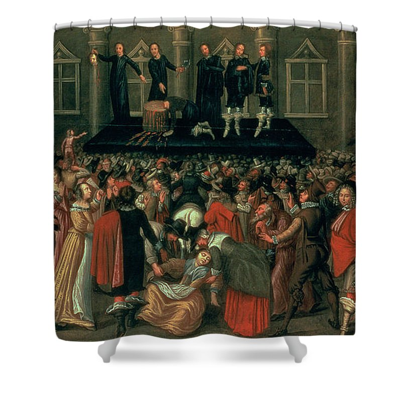 Eyewitness Shower Curtain featuring the painting An Eyewitness Representation Of The Execution Of King Charles I by John Weesop