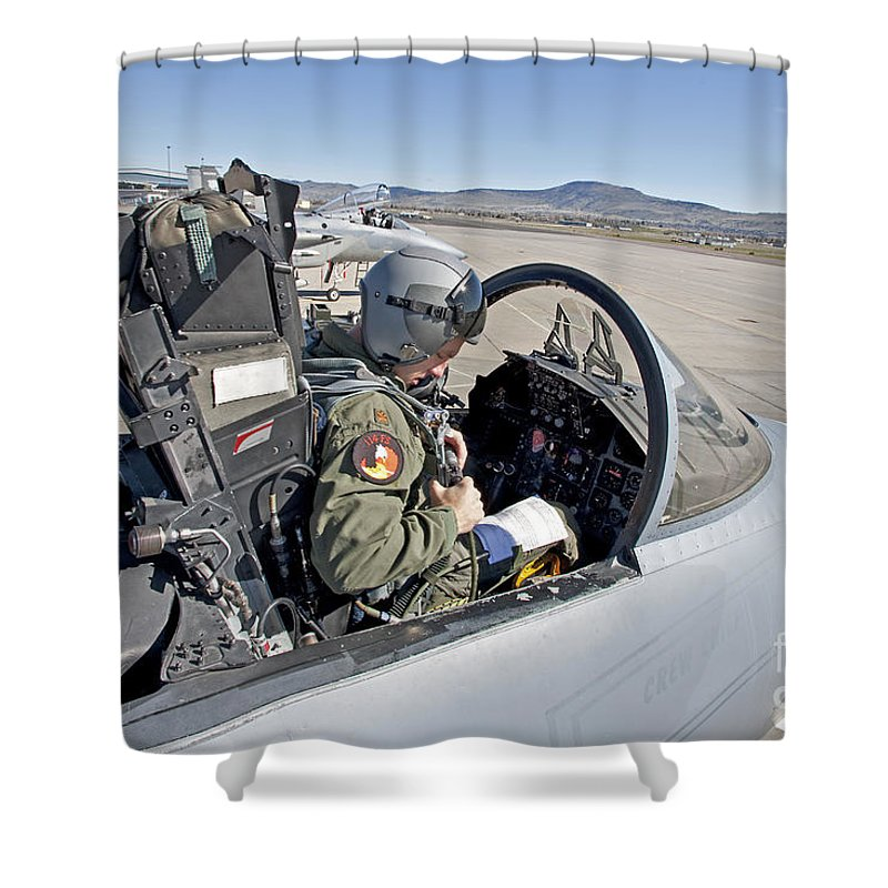 Cockpit Shower Curtain featuring the photograph An F-15 Pilot Performs Preflight Checks by HIGH-G Productions