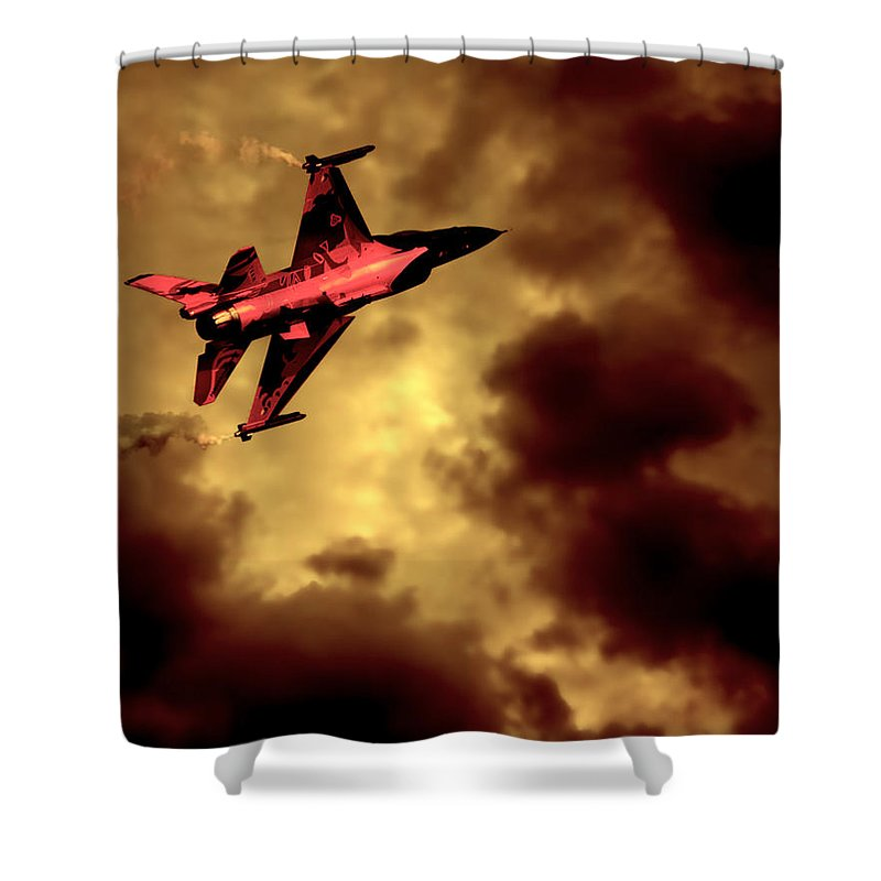 F-16 Shower Curtain featuring the photograph An F-16 Flies Through Hell by Chris Lord