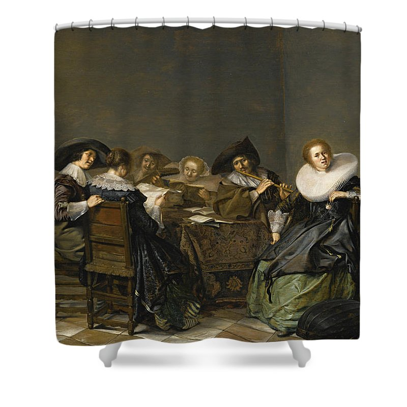 Pieter Codde Shower Curtain featuring the painting An Interior With Musicians Seated Around A Table by Pieter Codde