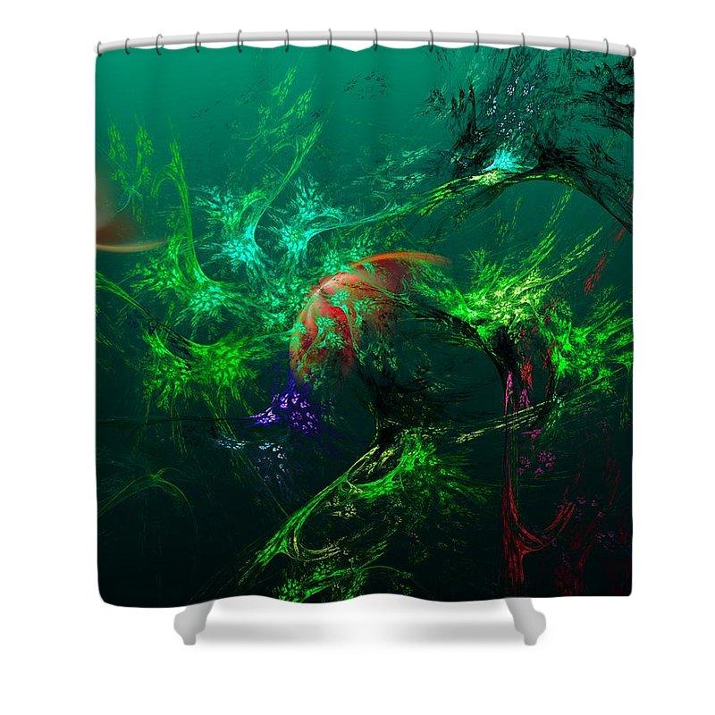 Fine Art Shower Curtain featuring the digital art An Octopus's Garden by David Lane