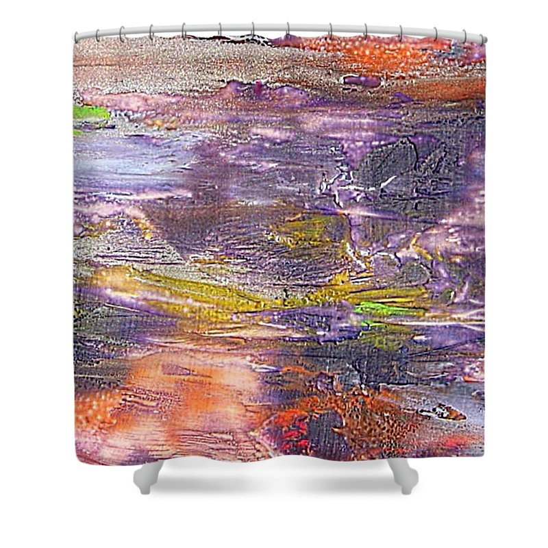 Old Board Shower Curtain featuring the painting An Old Board by Dragica Micki Fortuna