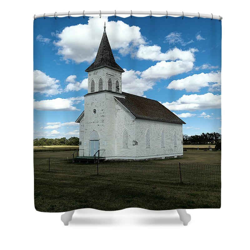 Church Shower Curtain featuring the photograph An Old Wooden Church by Jeff Swan