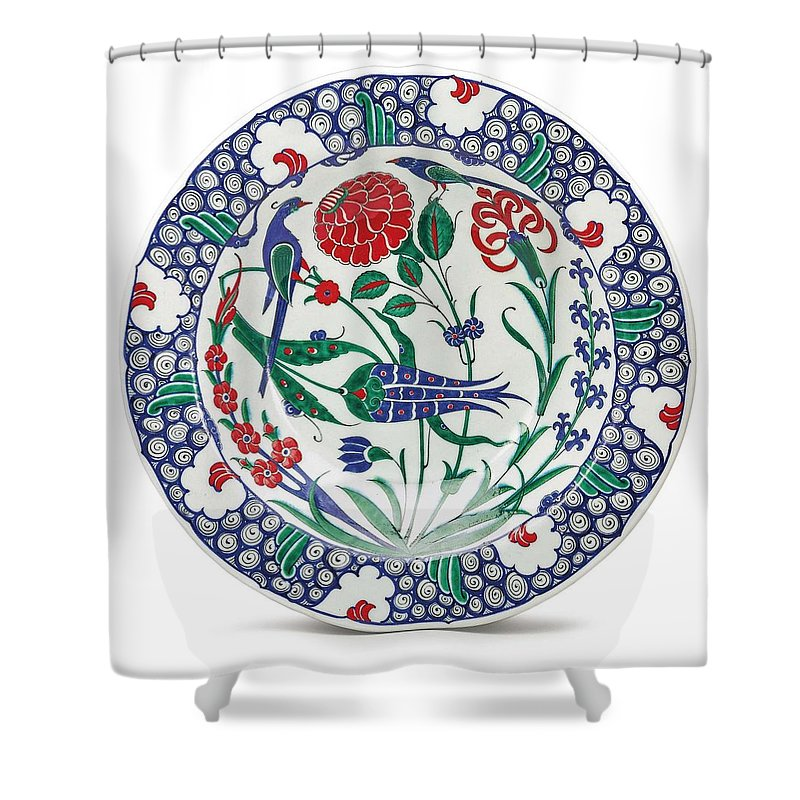 Pottery Shower Curtain featuring the painting An Ottoman Iznik Style Floral Design Pottery Polychrome, By Adam Asar, No 1 by Adam Asar