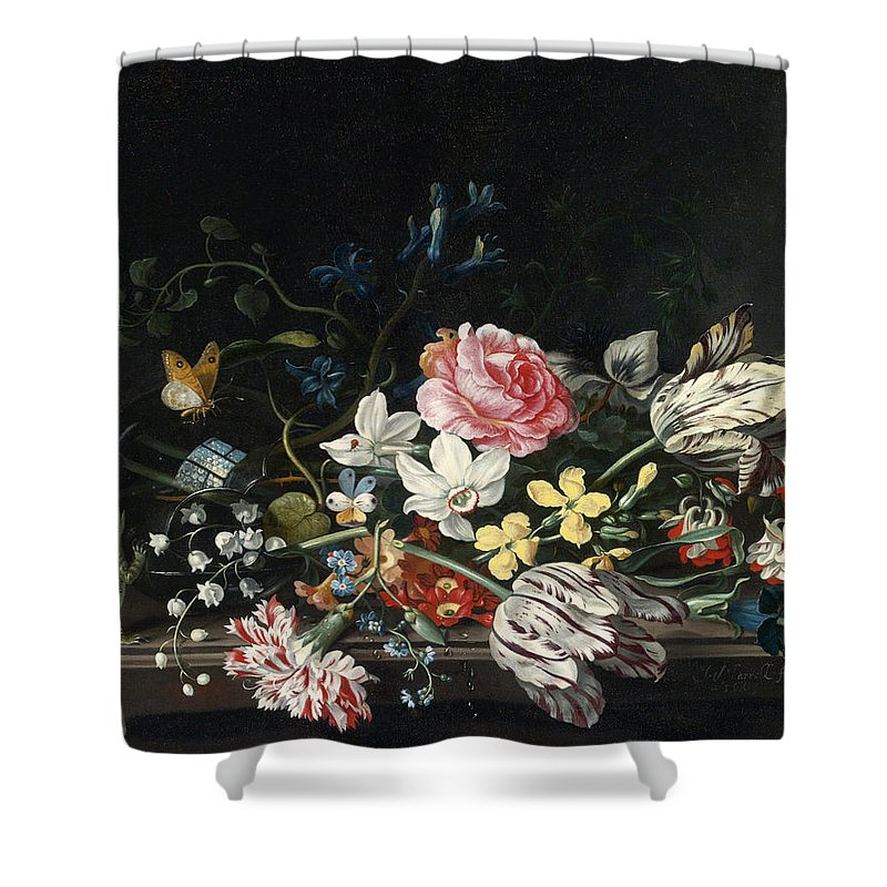 Jacob Marrel Shower Curtain featuring the painting An Overturned Vase Of Flowers Resting On A Ledge by Jacob Marrel