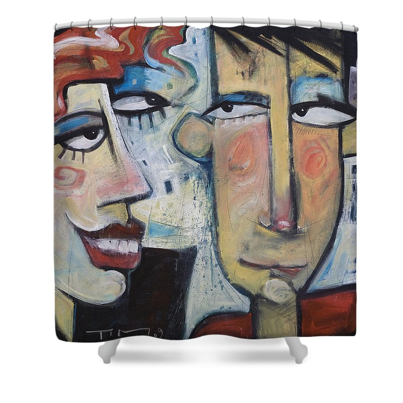 Man Shower Curtain featuring the painting An Uncomfortable Attraction by Tim Nyberg
