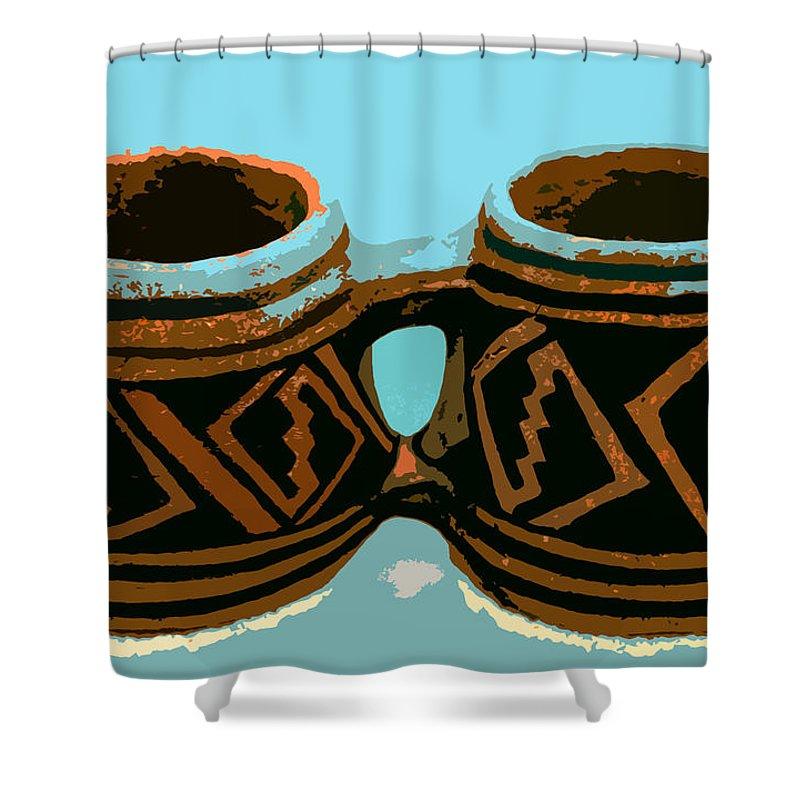Anasazi Shower Curtain featuring the painting Anasazi Double Mug by David Lee Thompson