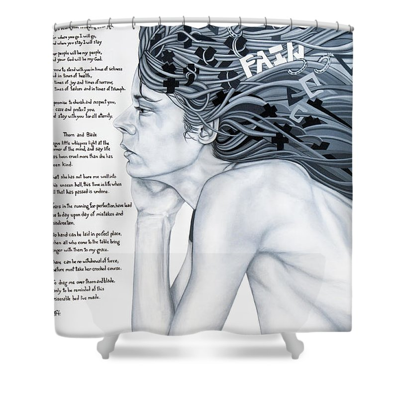 Poetry Shower Curtain featuring the painting Anatomy Of Pain by Judy Henninger