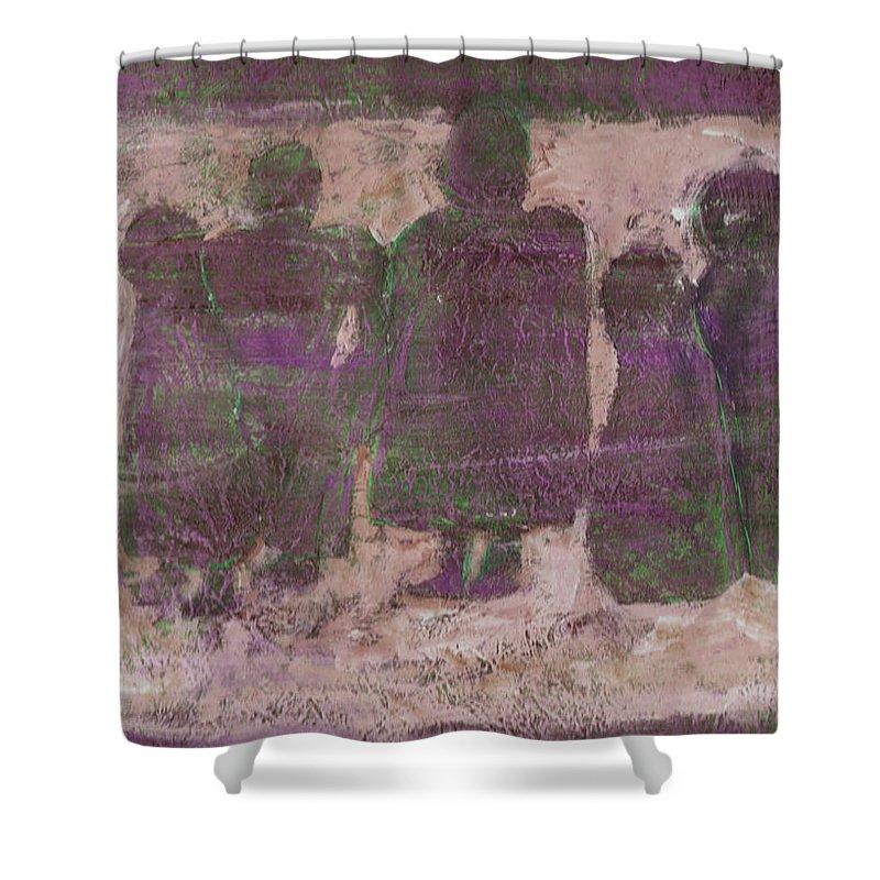 Ancestors Shower Curtain featuring the painting Ancestors by Wayne Potrafka