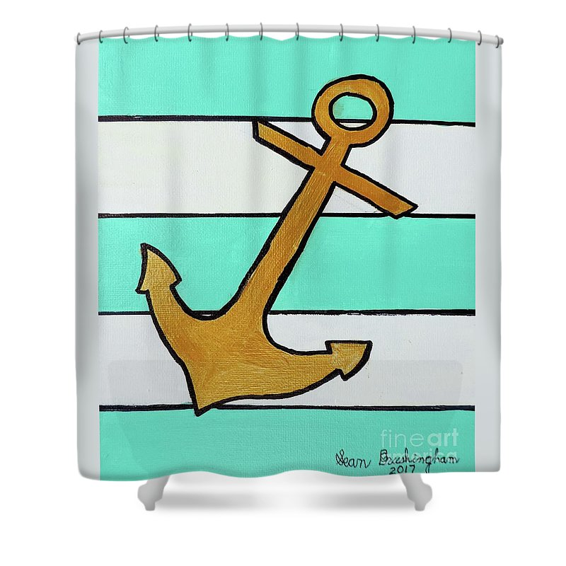 Anchor Shower Curtain featuring the painting Anchor by Sean Brushingham