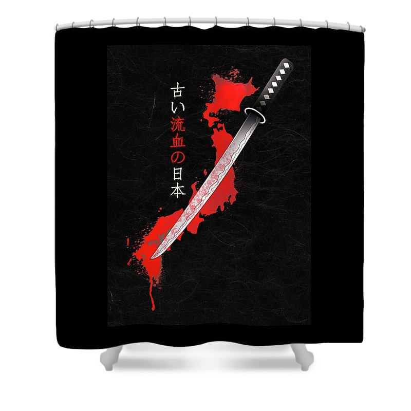 Japan Shower Curtain featuring the digital art ancient bloody Japan by Filippo B