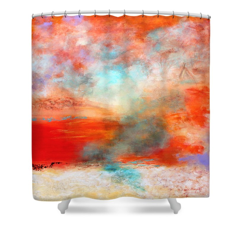 Abstract Shower Curtain featuring the painting Ancient Dreams II by M Diane Bonaparte