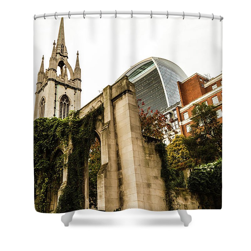 Bridge Shower Curtain featuring the photograph Ancient Enclave by Robert Stasio