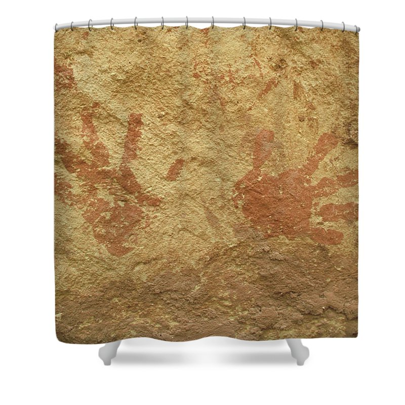 Anasazi Shower Curtain featuring the photograph Ancient Hands by Jerry McElroy