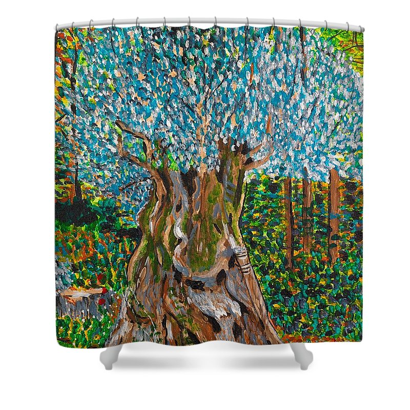 Olive Shower Curtain featuring the painting Ancient Olive Tree by Valerie Ornstein