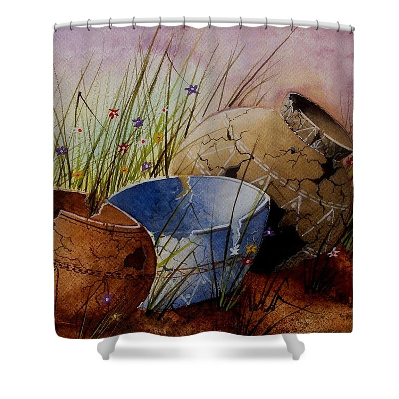 American Shower Curtain featuring the painting Ancient Relics A Paint Along With Jerry Yarnell' Study. by Jimmy Smith