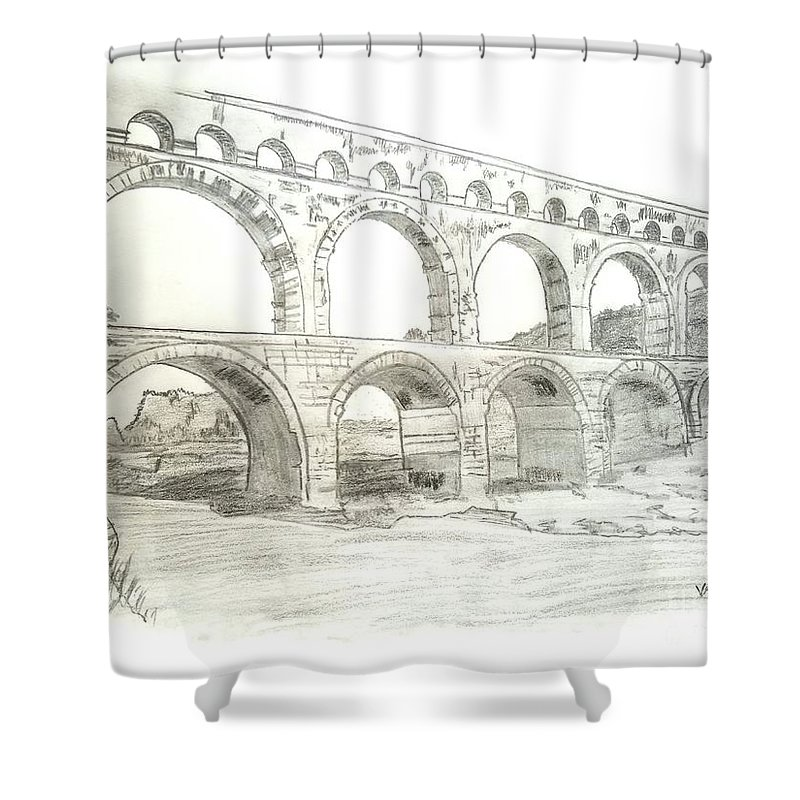 Ancient Shower Curtain featuring the drawing Ancient Roman Aqueducts by Scott D Van Osdol