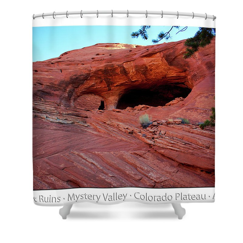 Mystery Valley Shower Curtain featuring the photograph Ancient Ruins Mystery Valley Colorado Plateau Arizona 01 Text by Thomas Woolworth