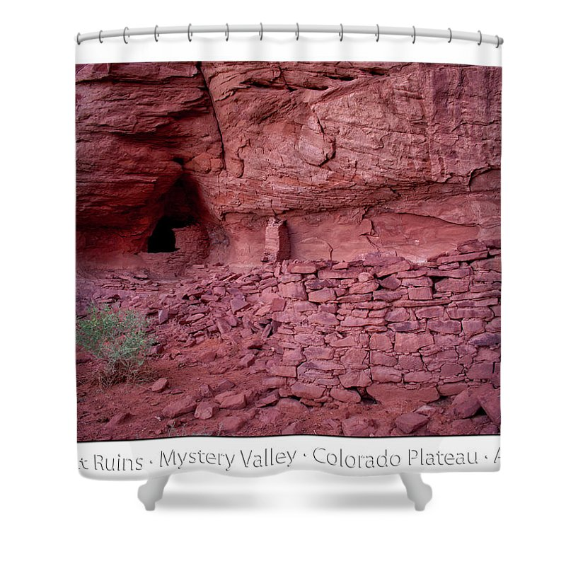 Mystery Valley Shower Curtain featuring the photograph Ancient Ruins Mystery Valley Colorado Plateau Arizona 02 Text by Thomas Woolworth