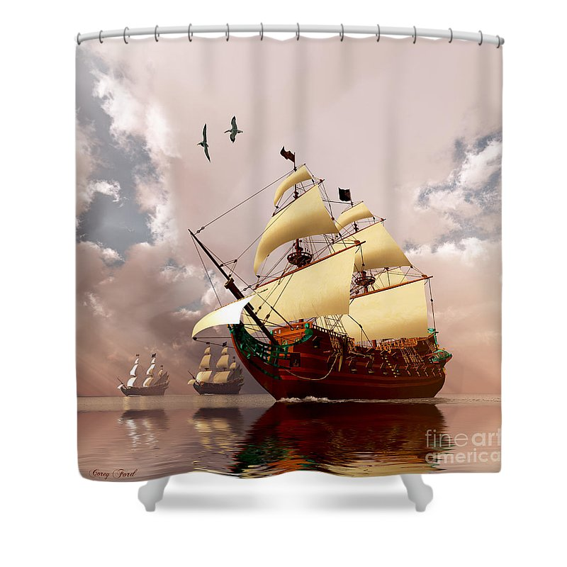 Galleon Shower Curtain featuring the painting Ancient Ships by Corey Ford