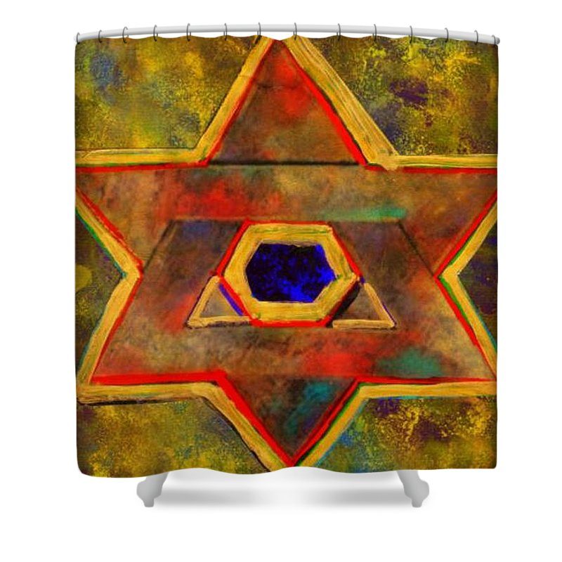 Ancient Star Shower Curtain featuring the painting Ancient Star by Wbk