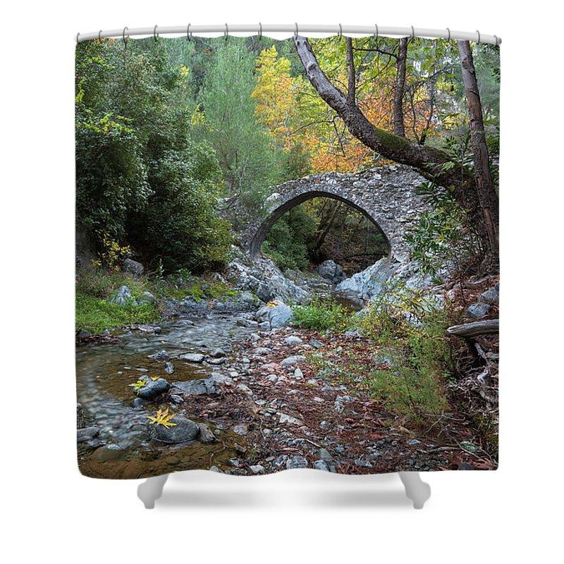 Bridge Shower Curtain featuring the photograph Ancient Stone Bridge Of Elia, Cyprus by Michalakis Ppalis