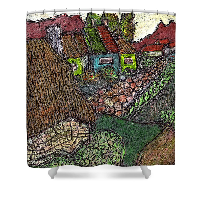 Ancient Village Shower Curtain featuring the painting Ancient Village by Wayne Potrafka
