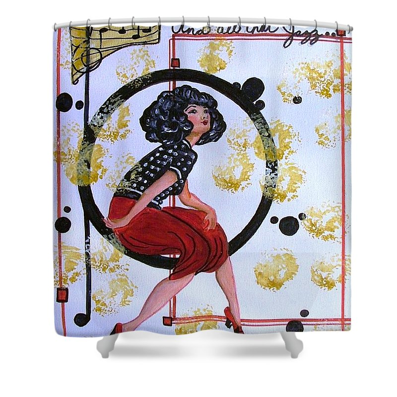 1920s Music Shower Curtain featuring the drawing And All That Jazz by Carol Allen Anfinsen