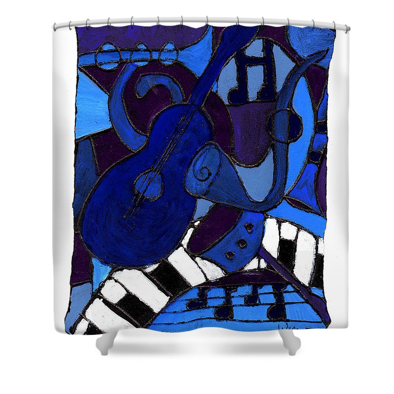 Blues Shower Curtain featuring the painting and All that Jazz one by Wayne Potrafka
