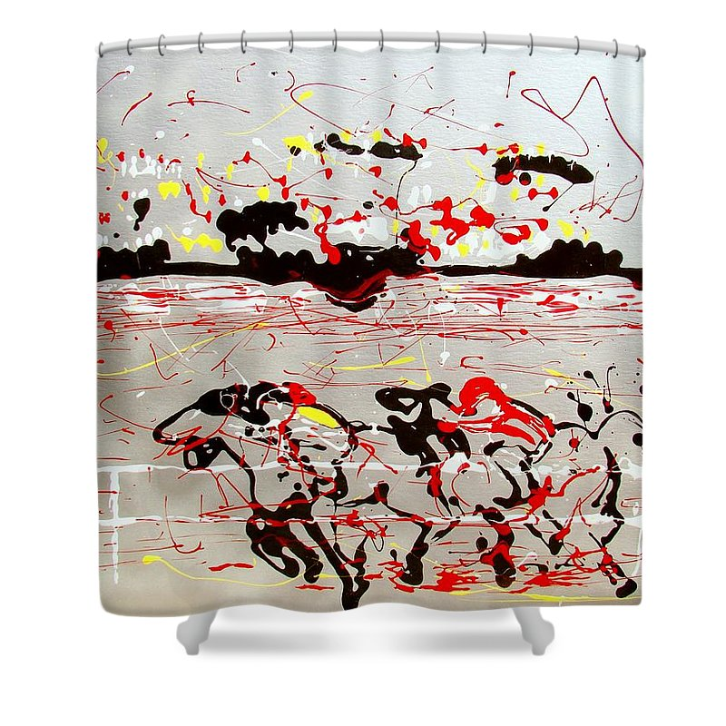 Abstract Shower Curtain featuring the mixed media And Down The Stretch They Come by J R Seymour