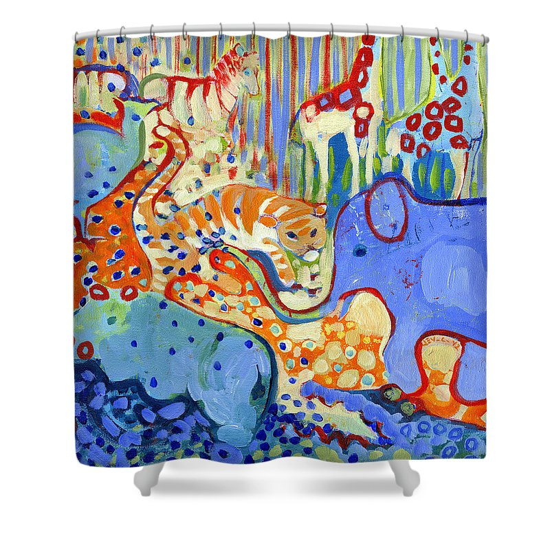 Blue Tiger Paintings Shower Curtains