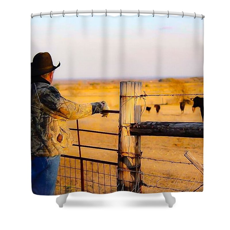 Hay Shower Curtain featuring the photograph And God Made A Rancher by Jeanie Mann