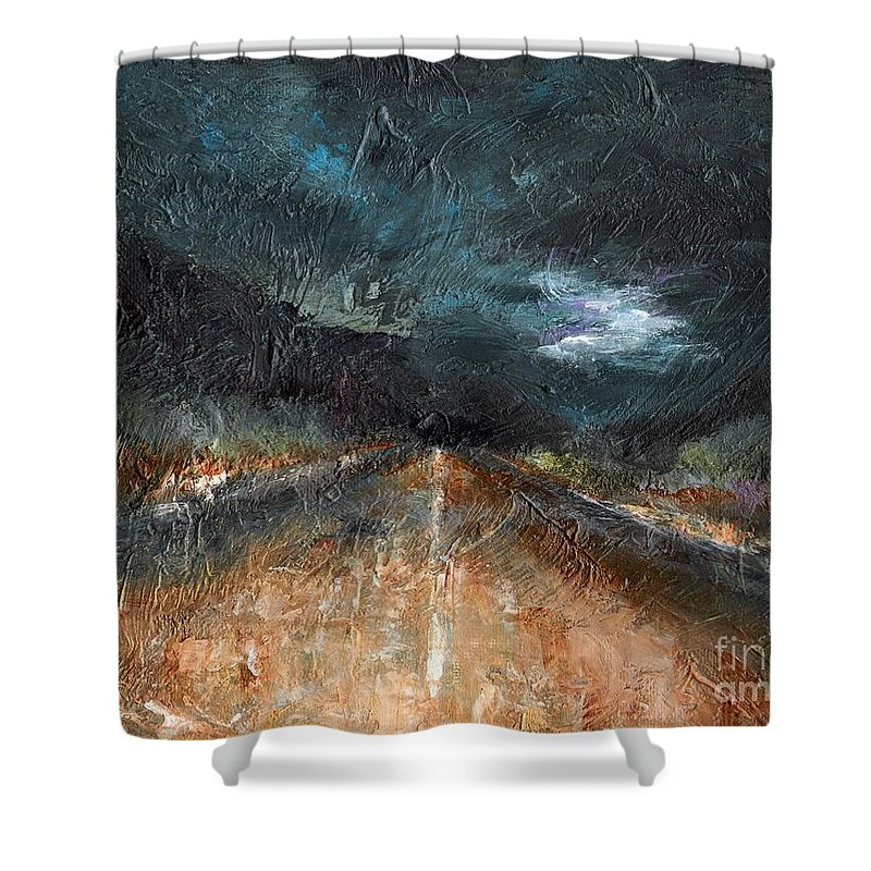 Landscape Shower Curtain featuring the painting And Life Goes On by Frances Marino