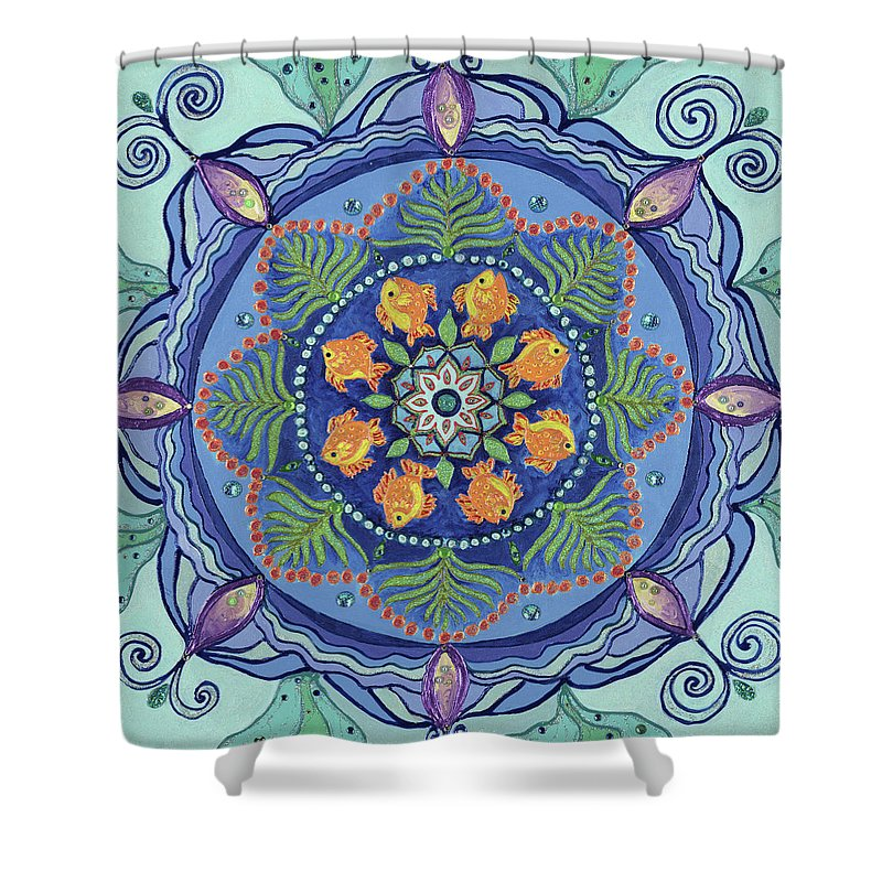 Mandala Shower Curtain featuring the painting And So It Grows Expansion And Creation by Kathleen Rausch