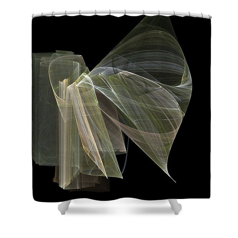 Experimental Shower Curtain featuring the digital art And The Angel Spoke..... by Jackie Mueller-Jones