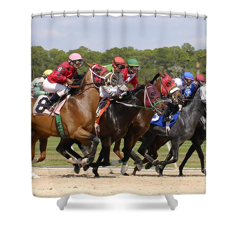 Horse Racing Shower Curtain featuring the photograph And Their Off by David Lee Thompson