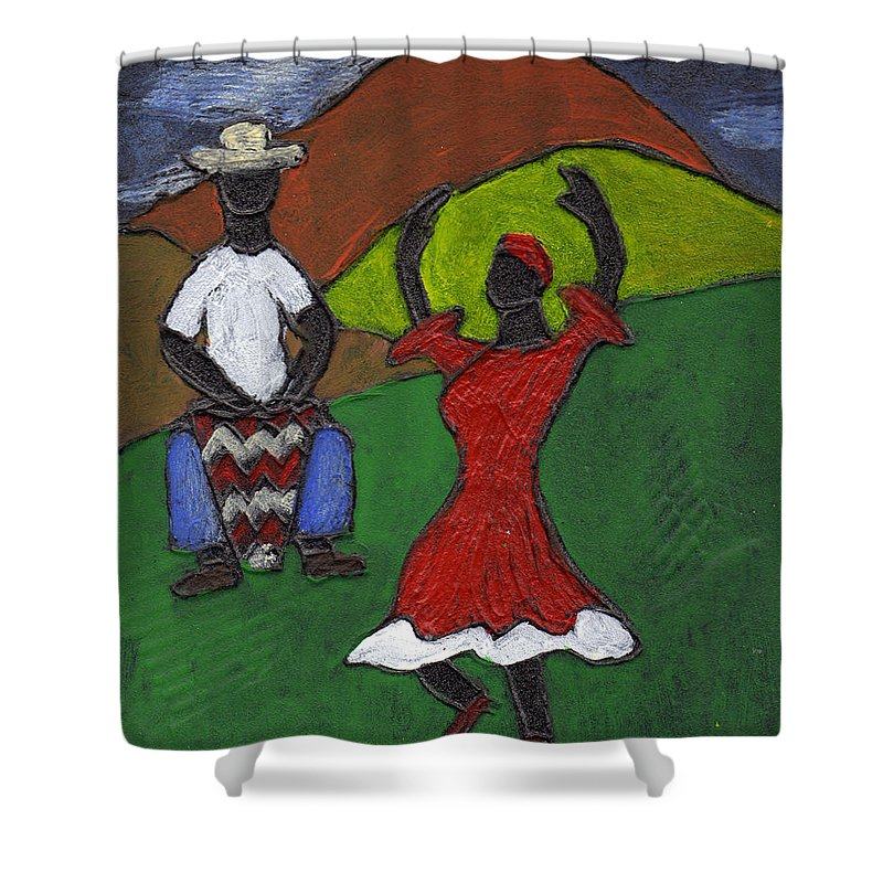 Dance Shower Curtain featuring the painting and Then She began to Dance by Wayne Potrafka