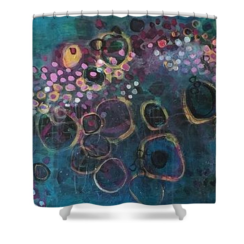 Circle Shower Curtain featuring the painting And Yet You Are Loved by Laurie Maves ART