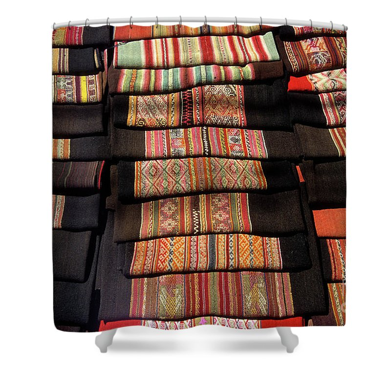 Bolivia Shower Curtain featuring the photograph Andean Textile Market by James Brunker